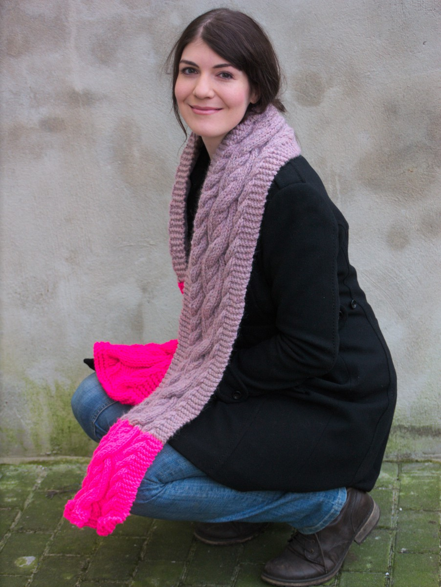Neon Pink Cable Knit
