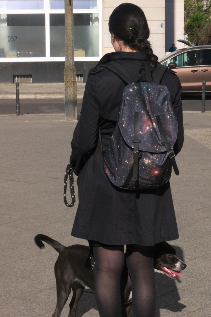 spiral bags backpack with galaxy print and basenji