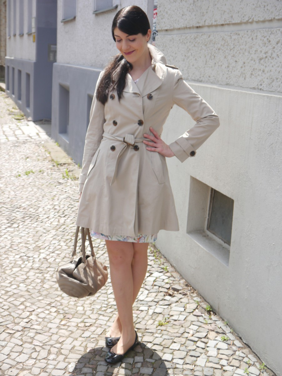 brunette in trenchcoat