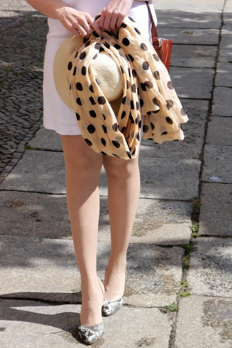 Furla Scarf and Straw Hat   Polka Dots