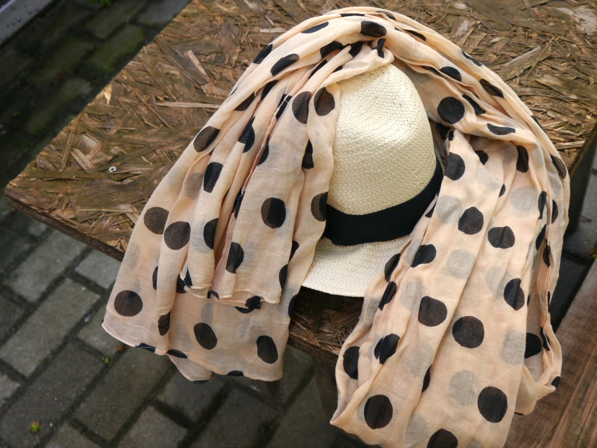 Polka Dot Scarf and Straw Hat