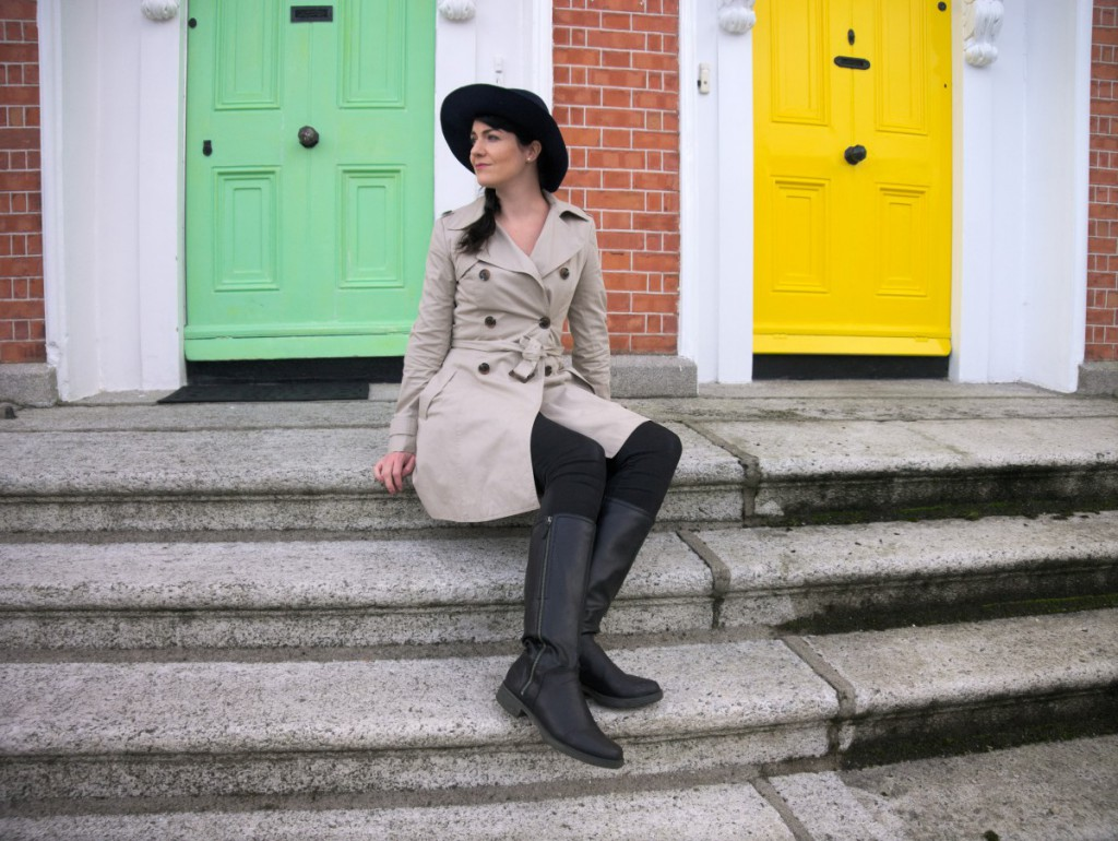Trenchcoat with Yellow and Green Dublin Doors