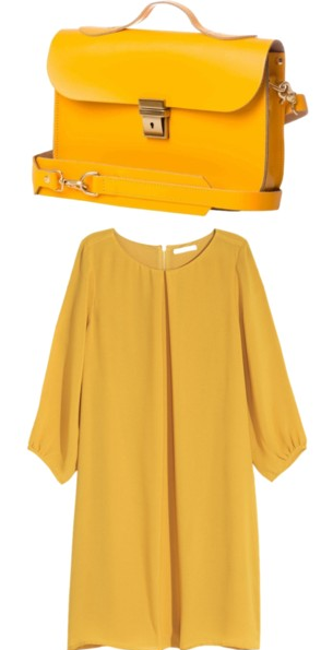 Yellow Satchel Bag and Fall Dress