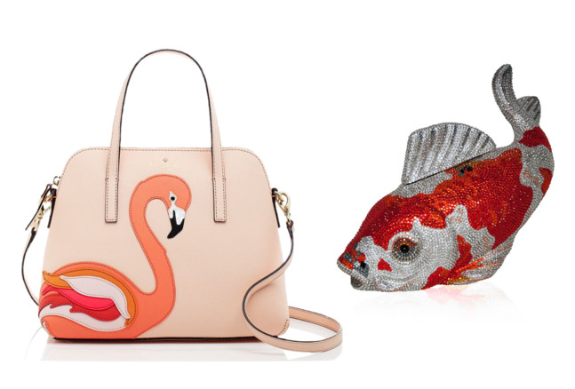 Kate Spade flamingo bag and Judith Leiber Couture Koi Minaudière