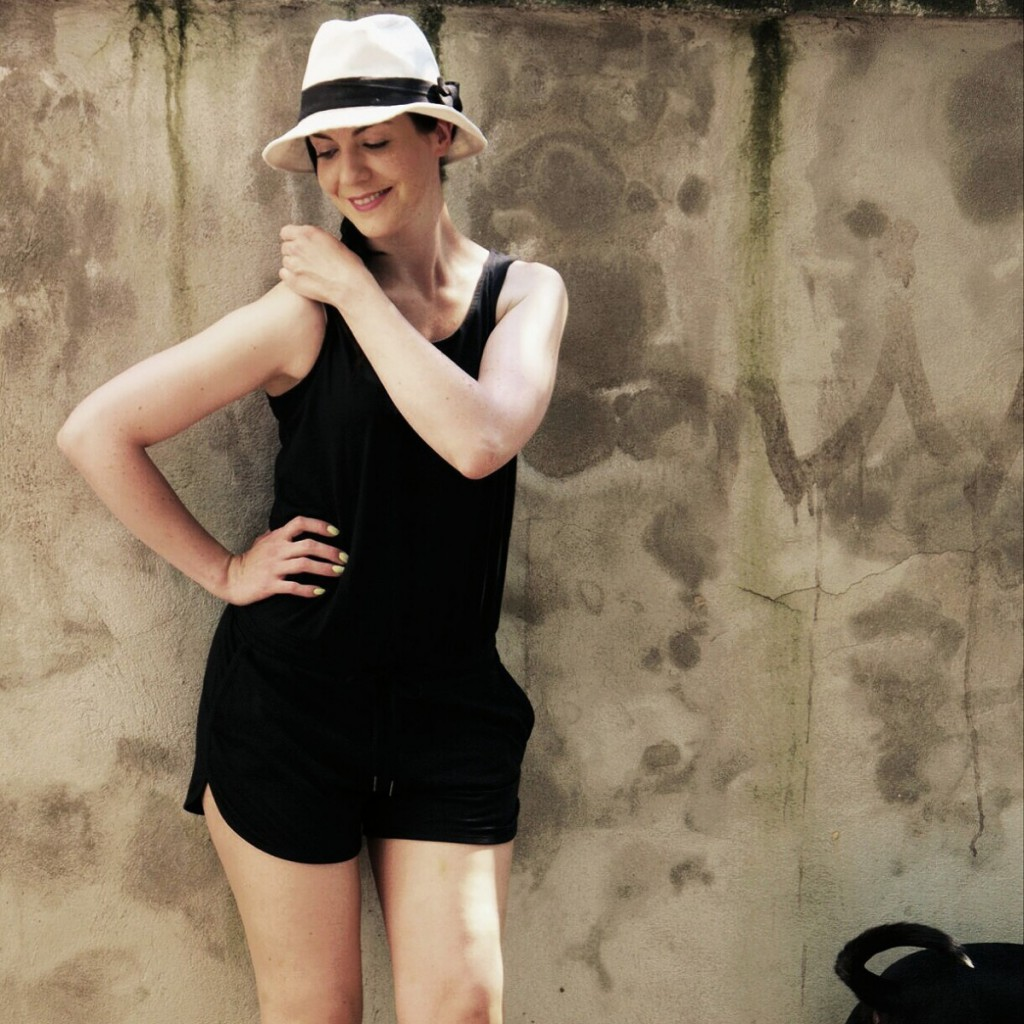 Black Romper & Panama Hat