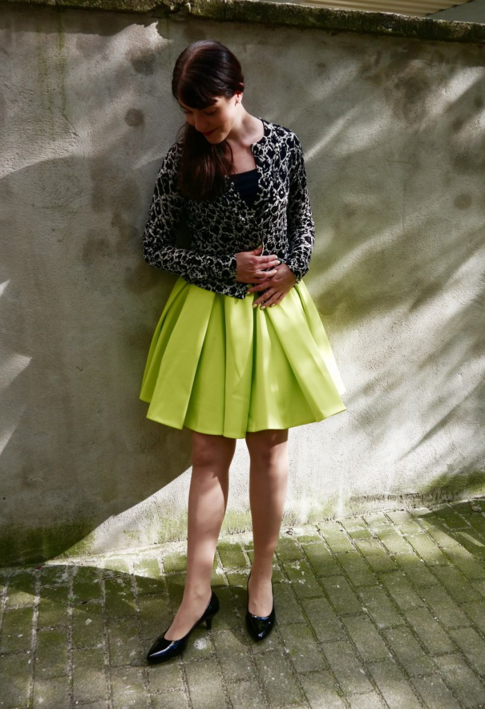 Fluo Yellow Skirt & DvF Cardigan
