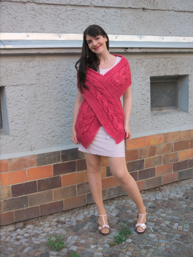 Sisley Scarf & Pink Sheath Dress