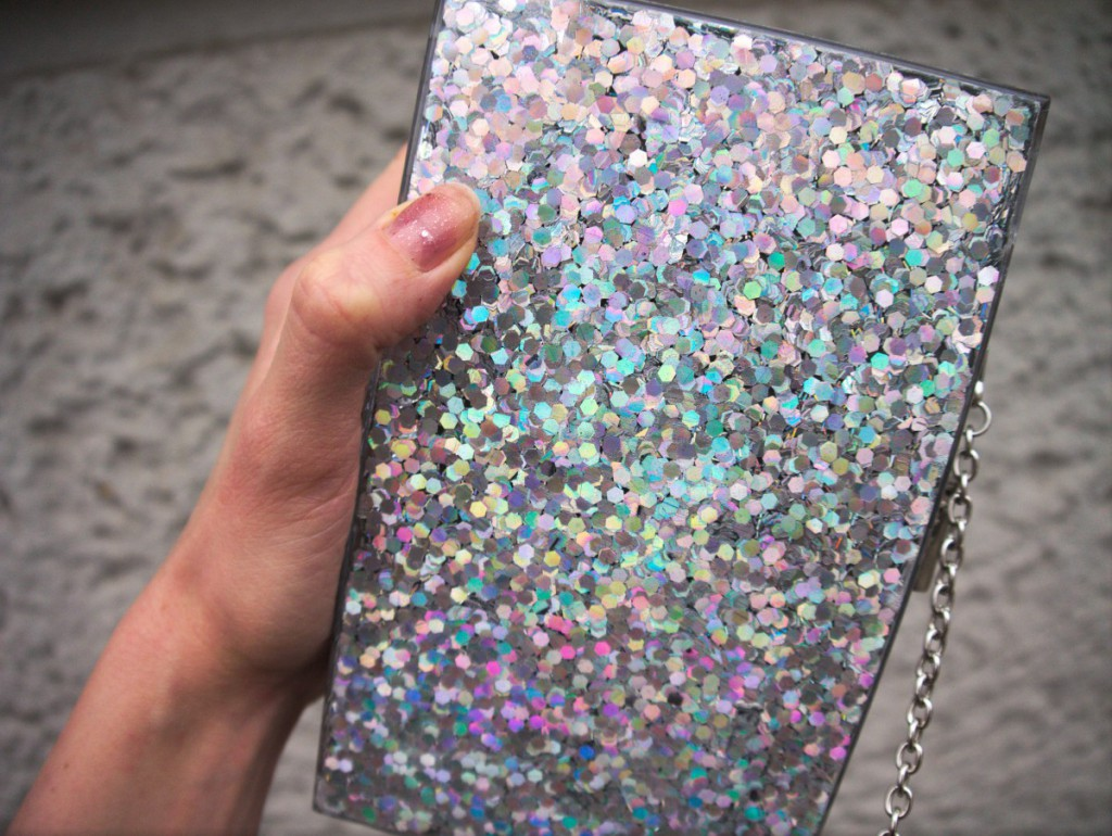 New Look glitter clutch