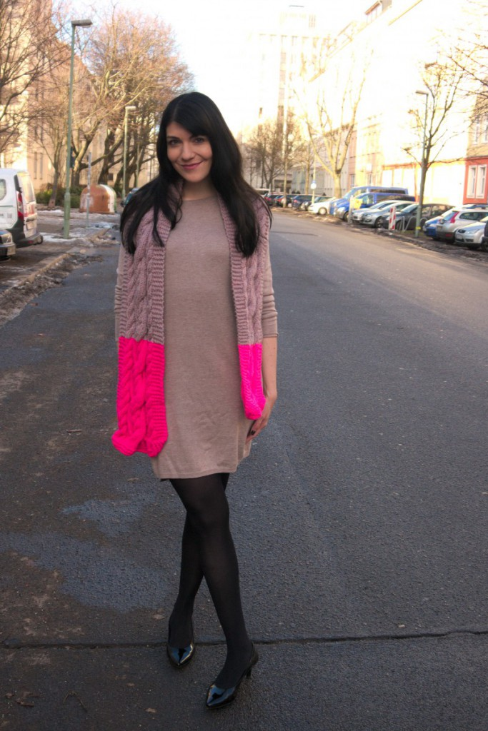 Neon Cable Scarf and Sweater Dress