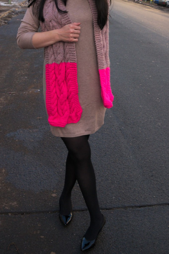 Knit Dress and Neon Cable Scarf | Caliope Couture