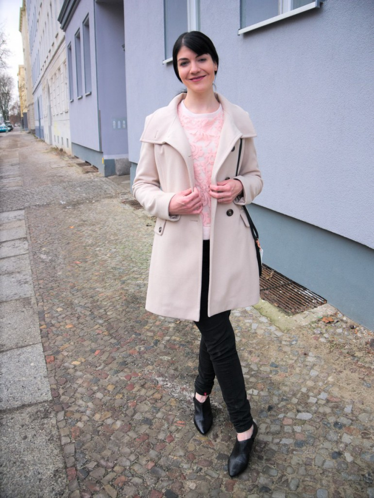 Cream Benetton Wool Coat and Pink Lace Sweater