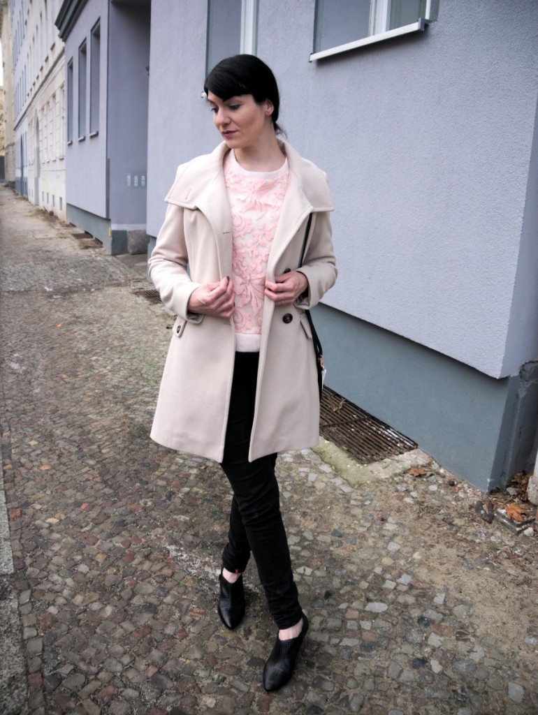 winter white wool coat and Minkpink sweater