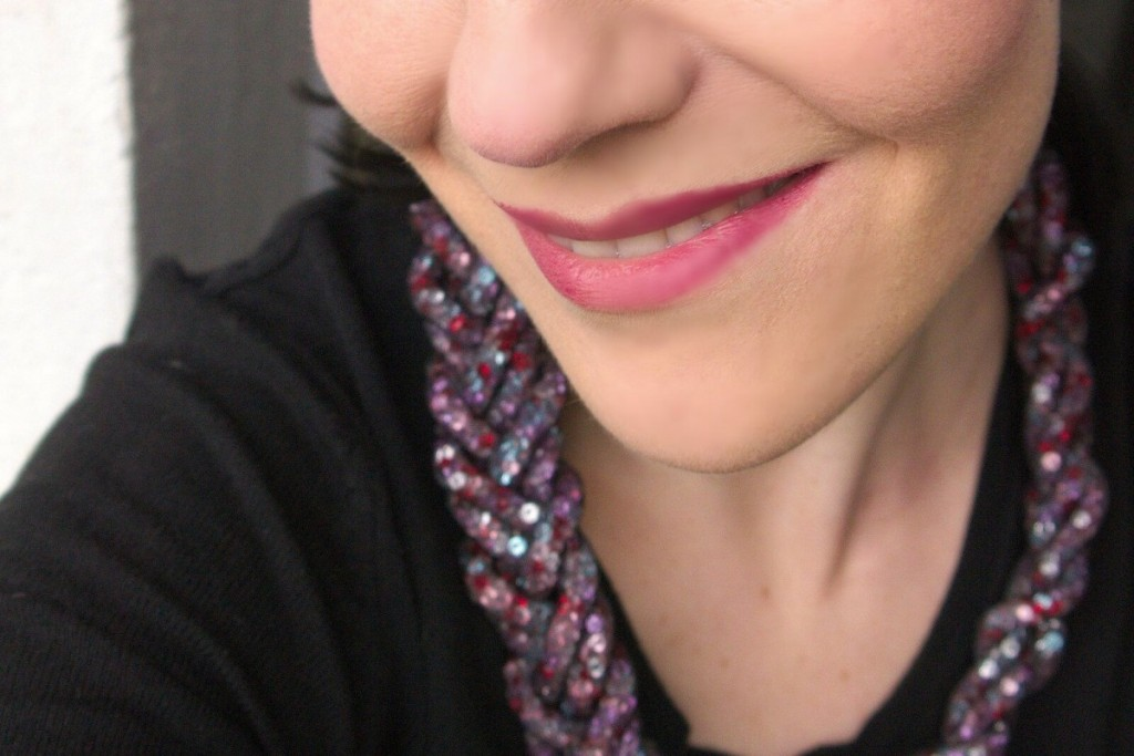 H&M beads and mesh necklace and Bobbi Brown Art Stick in Rose Brown