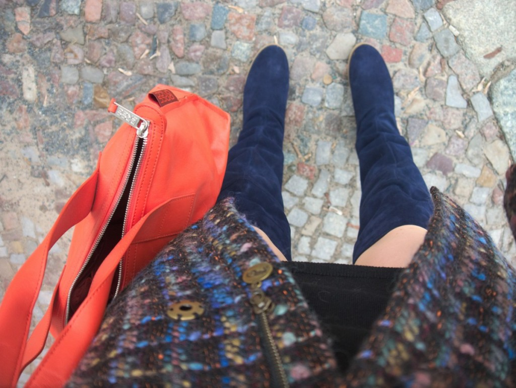 70s retro vibe blue and orange bouclé coat by Moods of Norway and suede over the knee boots