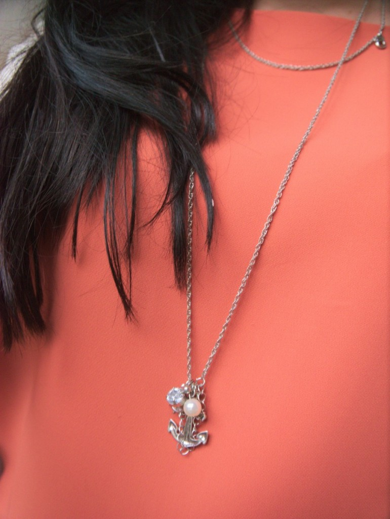 Gat Rimon dress and silver anchor necklace