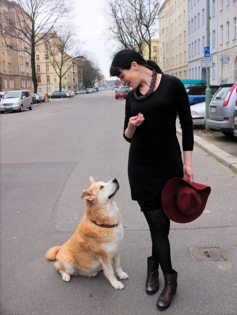 Akita and brunette in sweater dress and marsala fedora
