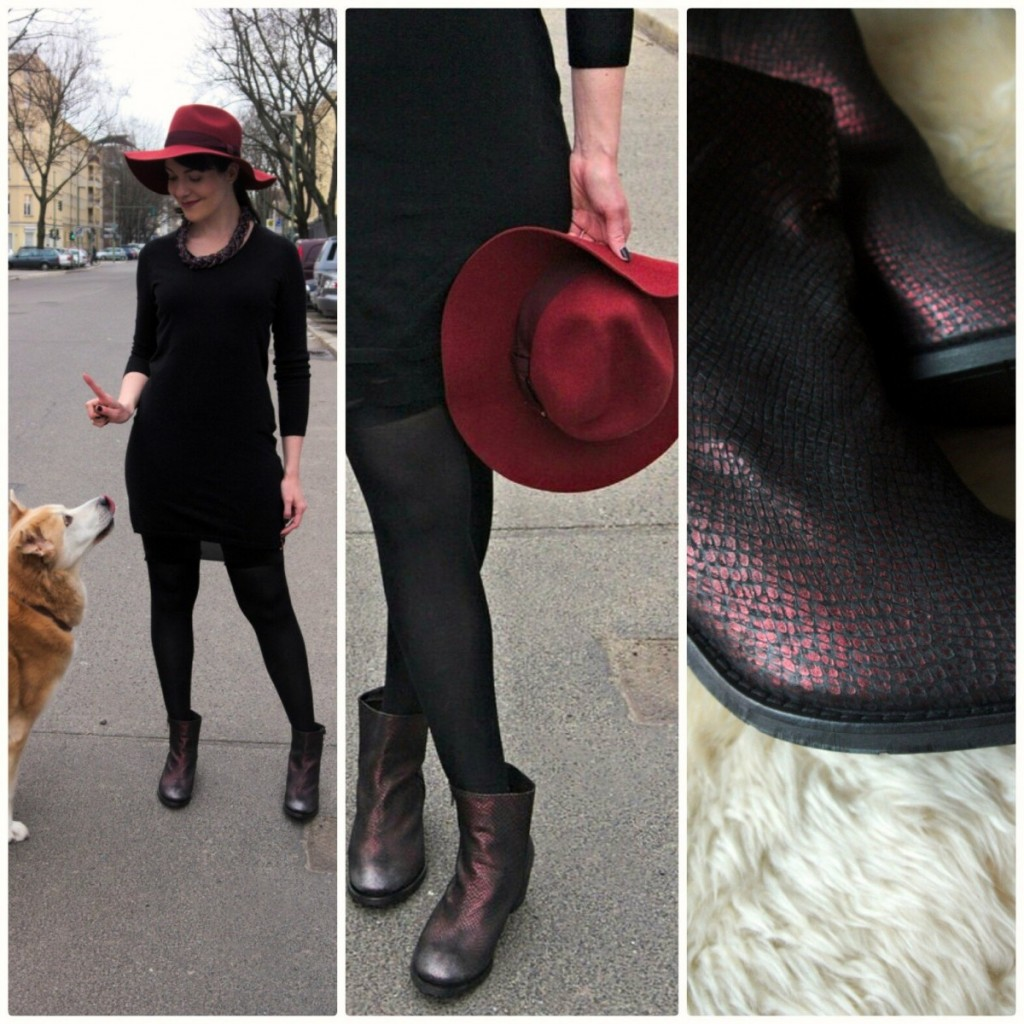 Marsala fedora and black sweater dress