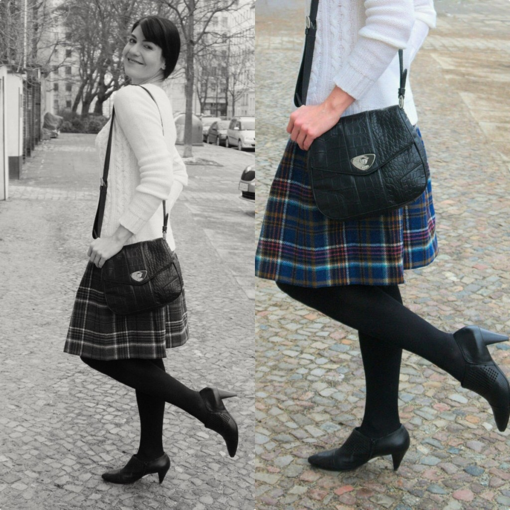 Vintage style Boden tweed check skirt