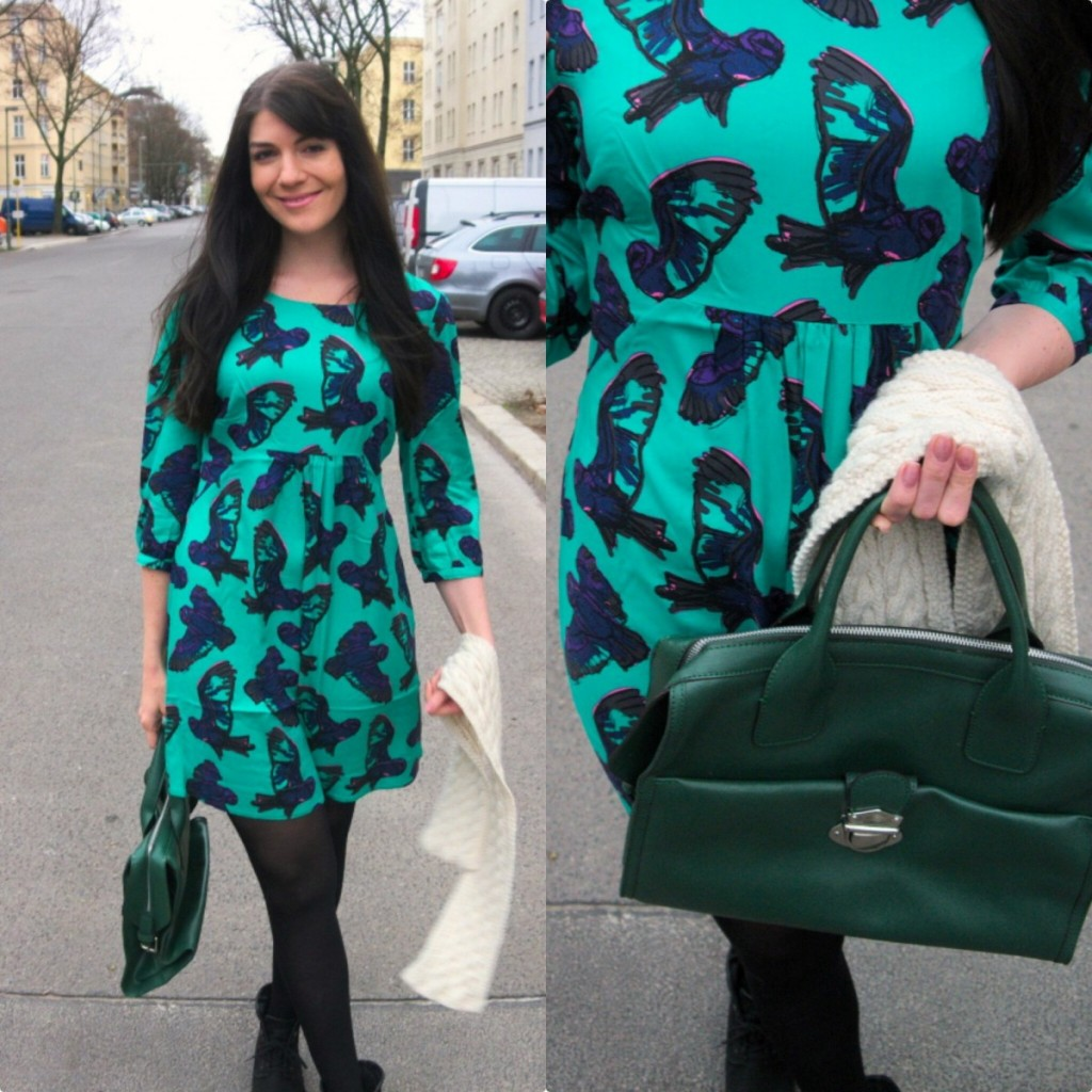 Jade green owl dress