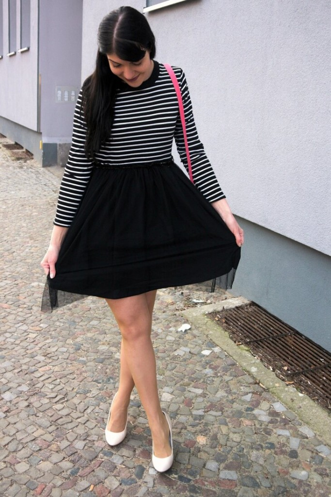 NewChic pinup stripe dress with tulle skirt and cream heels