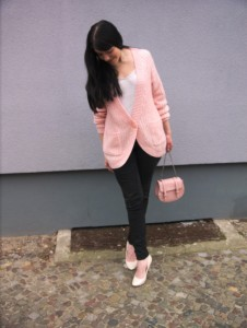 outfit with mint&berry cardigan in rose quartz pink