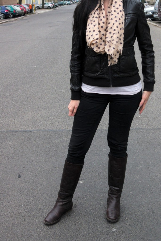 Dark brown faux leather jacket and star print scarf for spring