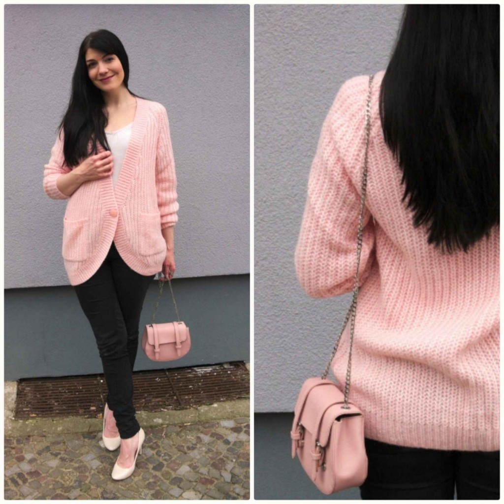 Rose quartz pink cardigan and cream high heels