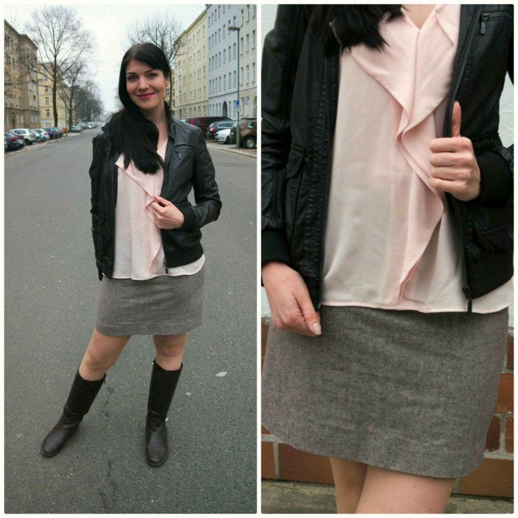 Faux leather jacket with rose quartz top and tweed skirt