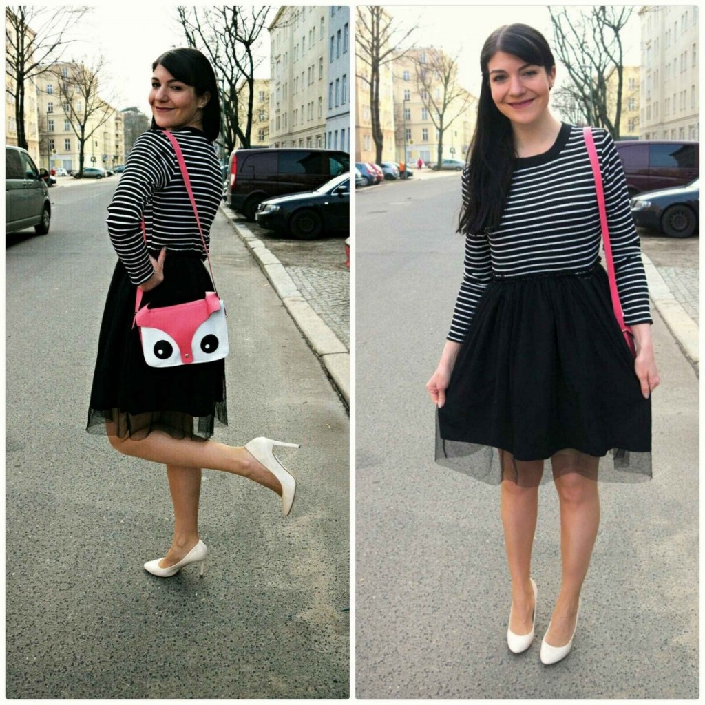 two-piece tulle dress with stripes and cute novelty bag