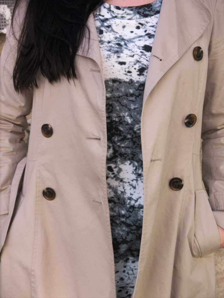 marble print dress and trenchcoat