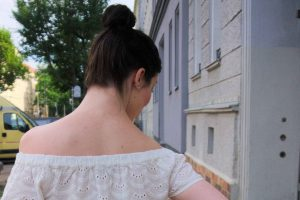 off shoulder eyelet blouse and top knot
