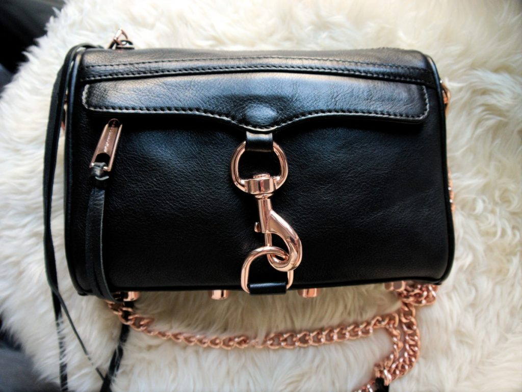 Rebecca Minkoff Mini Mac rose gold and black