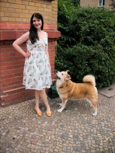 tropical pineapple print cut-out dress and akita