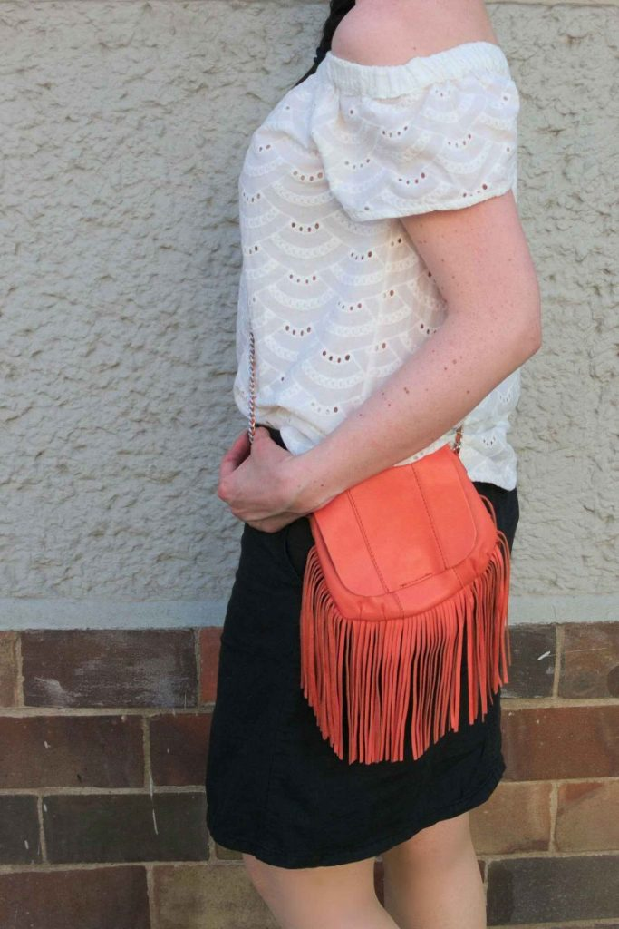 orange fringe bag