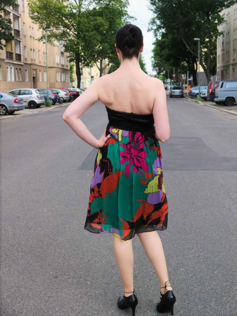 tropical bandeau silk dress