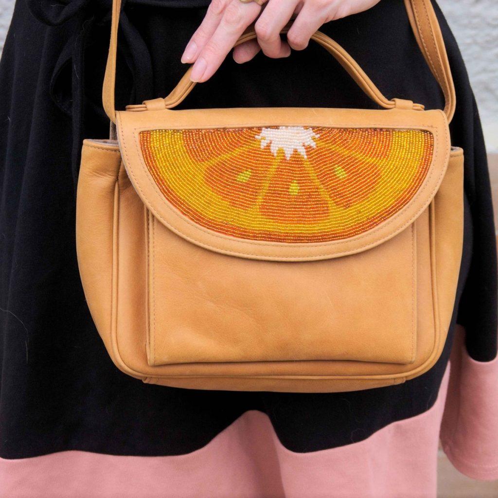 Sarah's Bag orange beaded bag