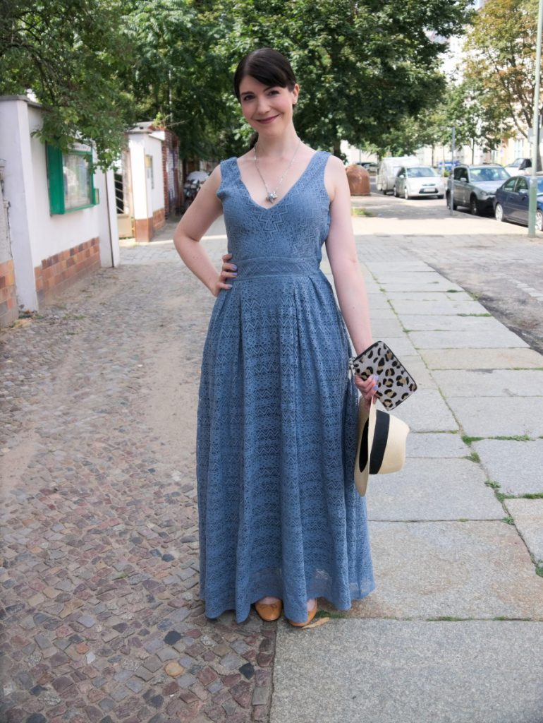 blue vintage lace dress