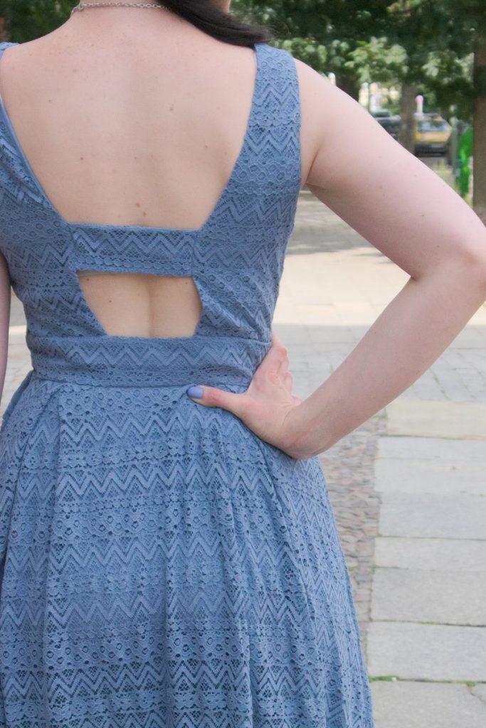 blue vintage lace dress back detail