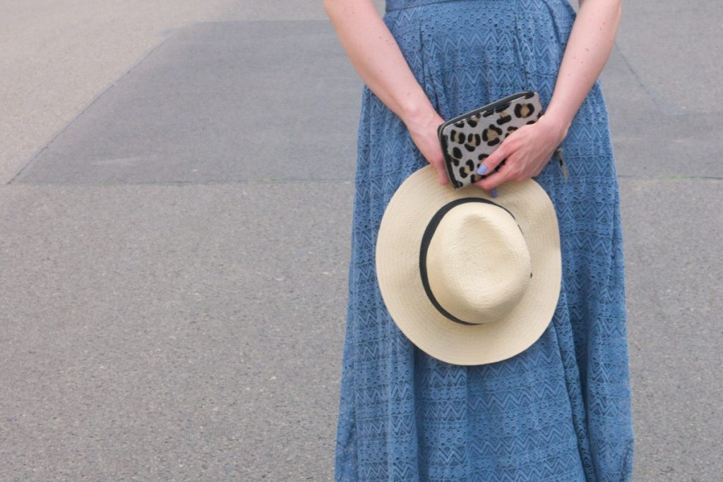 blue vintage lace dress and straw hat detail