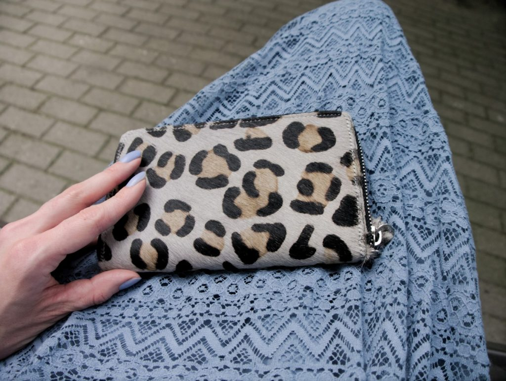 leopard clutch and blue vintage lace dress