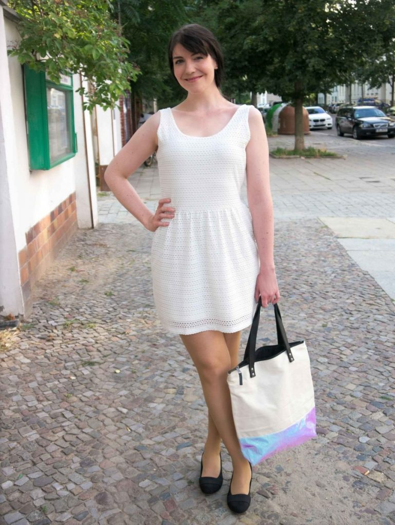 white ajour dress