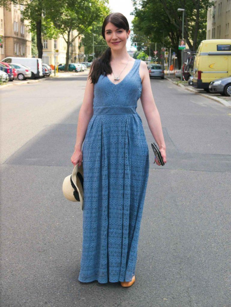 serenity blue vintage lace dress