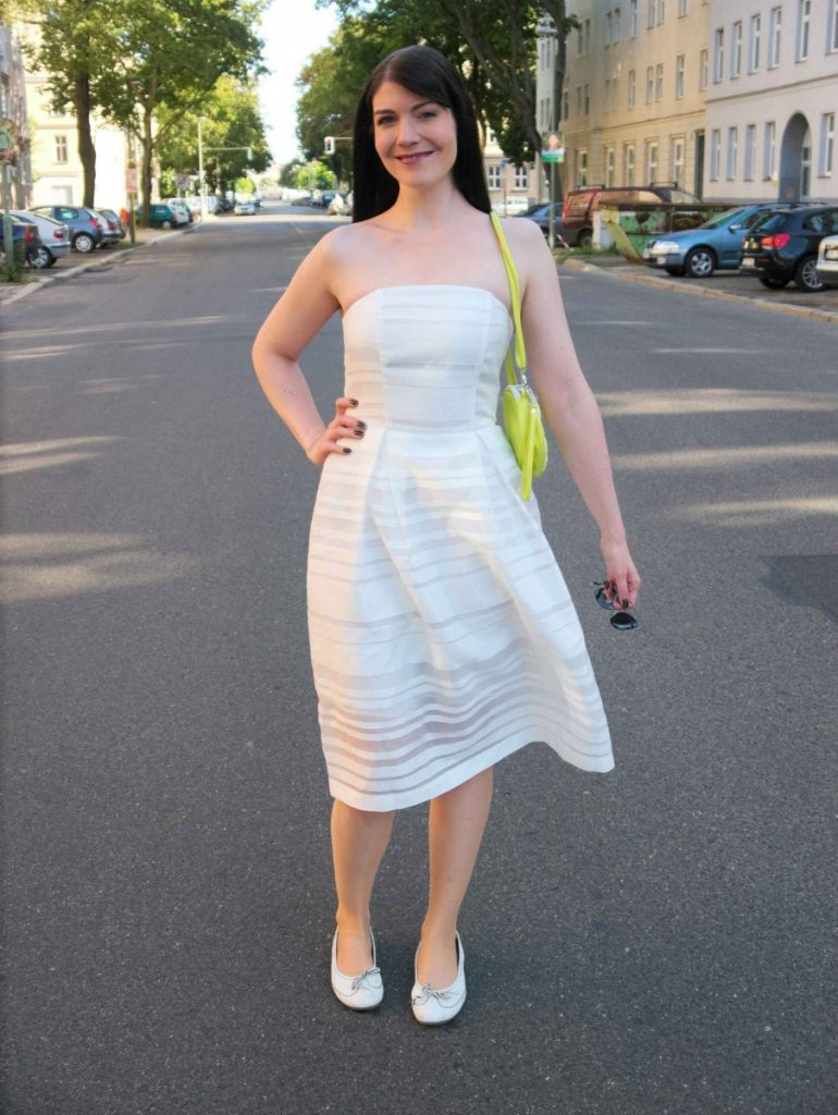 white off-shoulder dress