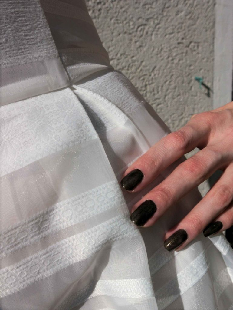 white organza dress detail and Vampire's Love nailpolish