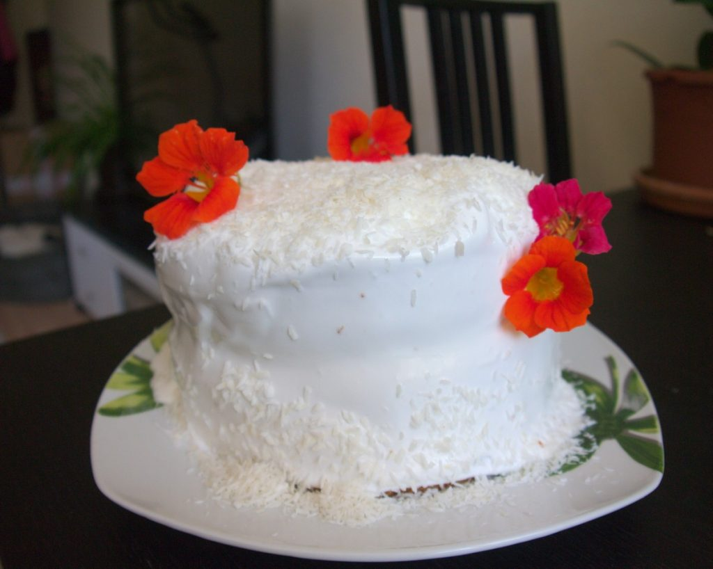 coconut cake with nasturtiums