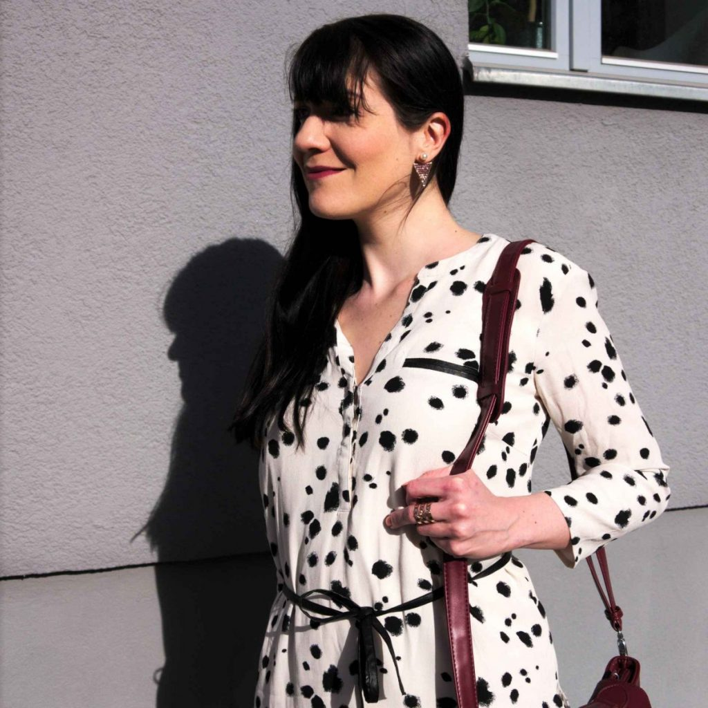 dalmatian shirt dress with ca&lou earrings