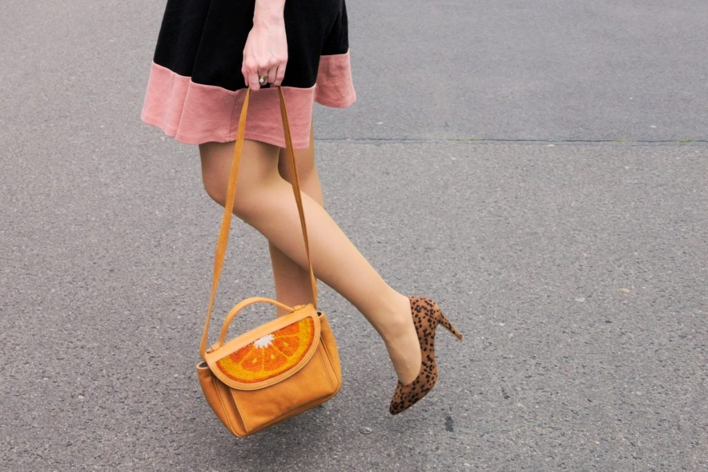 Islonia leopard high heels and orange slice bag by sarah's bag