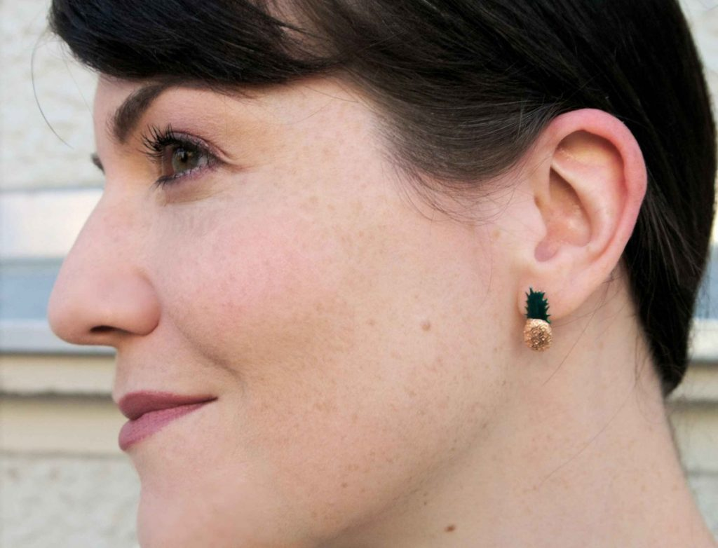 Aamaya by Priyanka pineapple earrings and freckles