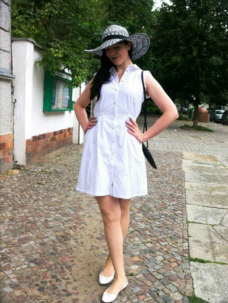 white coven shirt dress and taupe lipstick