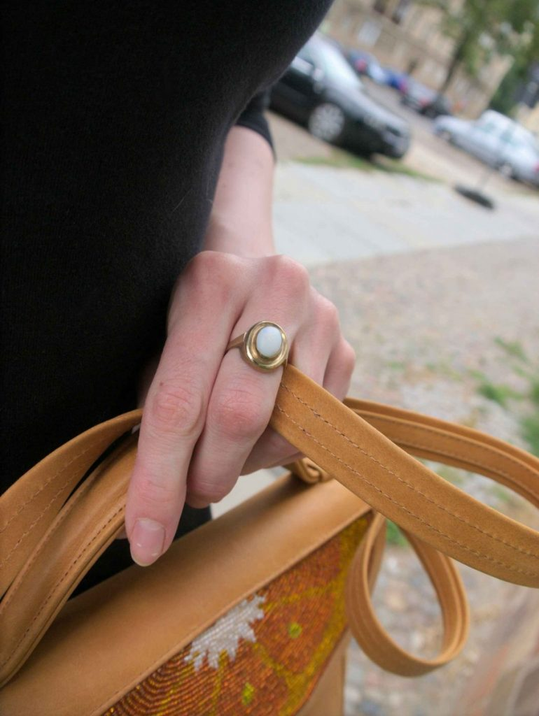 Sarah's Bag and gold opal ring